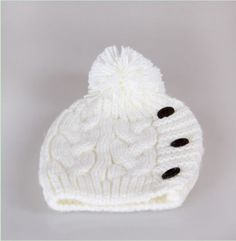 Women's Fashion Wool Knitting Buttons Hat White on BuyTrends.com, only price $9.58