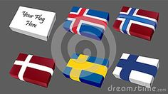 Logo Flags of Scandinavian group countries  icon set