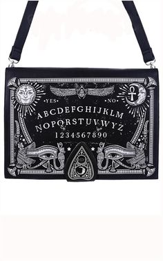 Ouija Board Black Hand Bag Purse Spirit Planchette Occult. Rectangle, firm bag made of solid, faux leather. On front there is huge, detailed print of Ouija spirit board. Bag is fastened with the strap