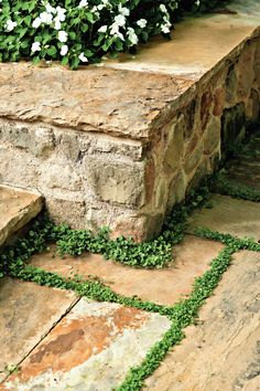 Sitting Wall This low stone retaining wall with a smooth upper surface does double duty: In addition to enclosing the terrace and defining the space, it also provides comfortable places for guests to sit during larger gatherings.
