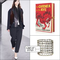 Céline suit, Olympia Le-Tan book clutch, Anndra Neen open cage bangle - Elisa Lipsky-Karasz's Fall Wish List