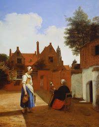 Courtyard in Delft at Evening - a Woman Spinning, by Pieter De Hooch