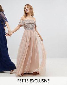 Maya Petite Bardot Sequin Top Tulle Detail Dress With High Low Hem