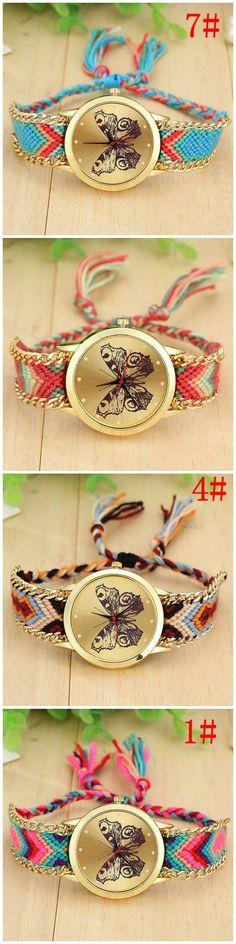 Boho fashion butterfly face cloth band teen watch