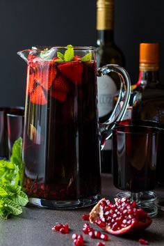 Pomegranate+and+strawberry+red+wine+sangria.+