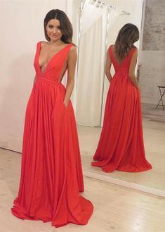 evening gowns, chic a-line deep v-neck party dresses, fashion women dresses, elegant long prom dresses