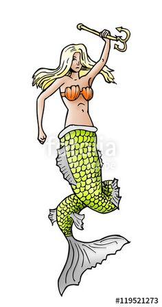 Ingekleurde tekening van zeemeermin. Zilveren staart, geschubt tot de heup. Bikini van schelpen. Deze zeemeermin houdt een driehaak vast.