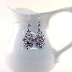 Purple Swarovski Earrings Chandelier Style by CinLynnBoutique, $19.00