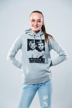 "Marcus and Martinus pullover. Light gray hoodie with a black and white print of Marcus & Martinus on the front. The official ""Together-Tour"" hoodie. Grey Hoodie, Hoodies, Sweatshirts, Organic Cotton, Cool Outfits, Graphic Sweatshirt, Pullover, Model, Sweaters"