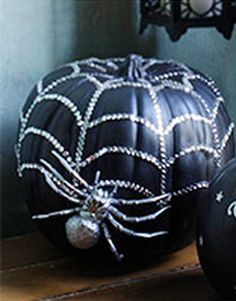 Spooky Designer Pumpkin DIY - add bling to your pumpkin