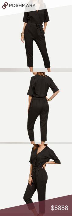Black Surplice Tie Waist Crop Jumpsuit Your go-to jumpsuit is here! A true wardrobe staple, this black self tie cropped romper features a surplice neckline for a flirty touch. Pair with your favorite pair of heels!  Measurements: Shoulder: S: 56 cm, M: 57 cm, L: 58 cm Sleeve Length: S: 19 cm, M: 20 cm, L: 21 cm Thigh: S: 58 cm, M: 60 cm, L: 62 cm Hip Size: S: 104 cm, M: 108 cm, L: 112 cm Waist Size: S: 64 - 76m, M: 68 - 80 cm, L: 72 - 84 cm Bust: S: 104 cm, M: 108 cm, L: 112 cm Dresses