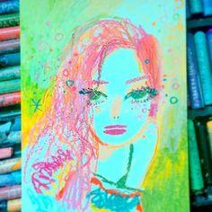 - 예은의 핑크색 머리도  숨도 못쉬게 예뻐요  #why_so_lonely #예은 #원더걸스 #일러스트 #일러스트레이션 #크레파스 #오일파스텔 #문교 #초상화 #얼굴