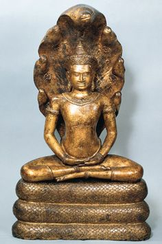 Crowned Buddha Seated in Meditation and Sheltered by Muchilinda Cambodia; Angkor period (802-1431), Angkor Wat style, possibly 12th century The configuration of this sculpture, which depicts the serpent king Muchilinda protecting the Buddha Shakyamuni from a fierce storm, became the focus of a cult introduced by the Cambodian king Jayavarman VII, who ruled the Khmer empire from about 1181 to 1219.