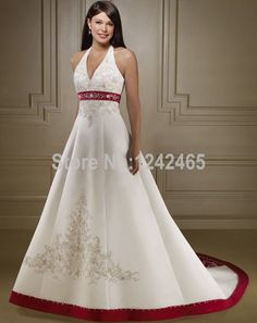 2015 Vestidos De Novias Ball Gown Halter Neck Bride Dress Sweep Train Satin Red And White Wedding Dresses With Beadings EN374-in Wedding Dresses from Weddings & Events on Aliexpress.com | Alibaba Group
