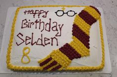 Make your very own Harry Potter Birthday Cake! It is fun and easy! All you need is a sheet cake, two boxes of cake mix, frosting and a little skill. Harry Potter Birthday Cake, Harry Potter Bday, Harry Potter Baby Shower, Birthday Sheet Cakes, Cookie Cake Birthday, All You Need Is, Zoe Cake, Birthday Brownies, First Communion Cakes