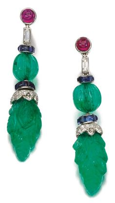 Rosamaria G Frangini | High Colorful Jewellery | TJS | A pair of Art Deco gem set and diamond ear clips, 'Tutti Frutti', Cartier, circa 1925.