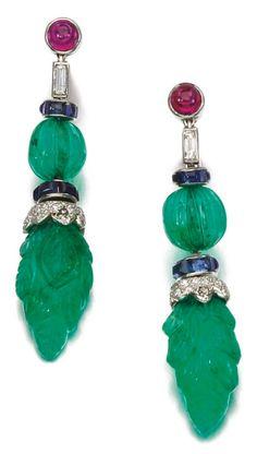 A pair of Art Deco gem set and diamond ear clips, 'Tutti Frutti', Cartier, circa…♥•♥•♥