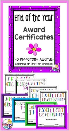 Includes 40 different awards, so you'll be able to find one that is just right for each of your students. Each award is super cute and comes in two versions, one with a colorful border and a printer friendly version with a white border. (TpT Resource)