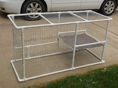 Pet DIY PVC & Wire Cat Enclosure Cats … using window access for the cats… - Pets Diy Cat Enclosure, Outdoor Cat Enclosure, Rabbit Enclosure, Reptile Enclosure, Bunny Cages, Rabbit Cages, Canis, Hedgehog Cage, Cat Run