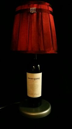 Monogamy Wine Bottle Lamp by Lampology on Etsy, $32.99  Get it here: http://www.etsy.com/listing/194215924/monogamy-wine-bottle-lamp #wine #handmade #etsy #lamp #gift
