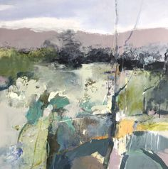 Spring Longing- abstract landscape by Joan Fullerton Acrylic ~ 24 x 24