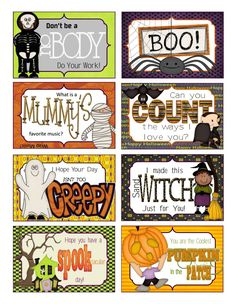 Halloween lunch box cards free printable