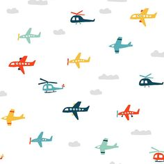 Planes and helicopters wallpaper for a kid's room Kids Patterns, Textures Patterns, Print Patterns, Cute Patterns Wallpaper, Kids Wallpaper, Surface Pattern, Surface Design, Gift Wrapper, Temporary Wallpaper