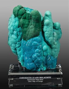Chrysocolla & Malachite Stalactite - Mashamba West Mine, Kolwezi District, Katanga Copper Crescent, Katanga, D.R. Congo