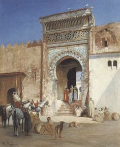 Victor Pierre Huguet (French, 1835-1902) –  Outside the mosque
