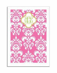 Hot Pink Damask Framed Magnetic Board