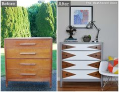 Estate sale dresser goes through unbelievable transformation with new paint, hardware, and a triangle design to become a mod geometric dresser.