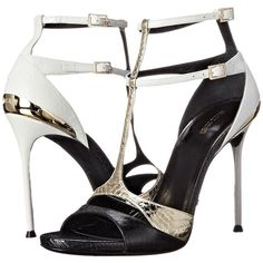 Roberto Cavalli Began Ayers Patch Heel (Black/White/Gold) Women's... ($585) ❤ liked on Polyvore featuring shoes, multi, gold platform shoes, ankle strap shoes, roberto cavalli shoes, open toe shoes and buckle shoes