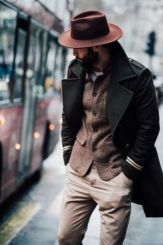 Fedora green overcoat tan pants herringbone blazer love this color scheme #fedora #overcoat #topcoat #herringbone #fallfashion #falloutfits #autumnfashion #menswear #mensfashion #menstyle