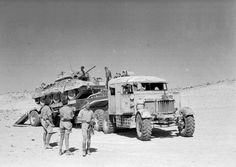 A Scammell transporter carrying a Crusader tank, North Africa, 1943 (c) | Online…