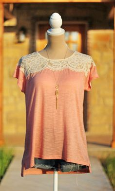 Better With Lace Top – Peach #SweetSouthernHoney