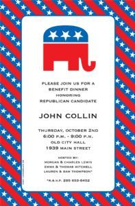 The Republican Elephant invitation sports a red, white and blue diagonal stripe with stars with a matching elephant graphic inside a blue frame. Perfect for republican party fundraising invitation and election night party! Election Night Party, Election Day, Republican Girl, Republican Party, Political Events, Political Party, John Collins, Fundraising Events, Fundraiser Event