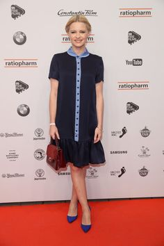 Jennifer Ulrich Photos Photos - Jennifer Ulrich attends the at Admiralspalast on February 2017 in Berlin, Germany. Samsung, Film Awards, Shirt Dress, T Shirt, Celebrity Style, Short Sleeve Dresses, Celebs, Berlin Germany, February
