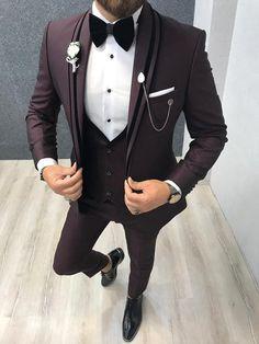 Bernard Claret Red Slim Fit Tuxedo - Tuxedo for men - Slim Fit Tuxedo, Slim Suit, Tuxedo Suit, Tuxedo For Men, Gray Tuxedo, Indian Men Fashion, Mens Fashion Suits, Mens Suits, Groom Suits