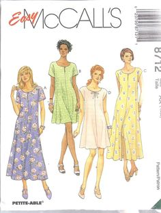 8712 UNCUT McCalls SEWING Pattern Misses Easy Fitting Flared Dress FF OOP SEW #McCalls #SewingPattern