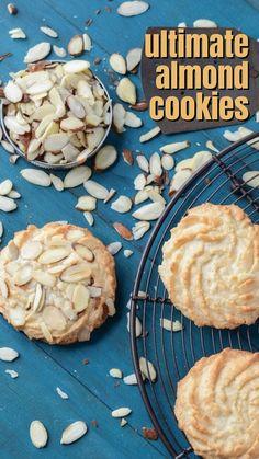 Cooking Cookies, Cookie Desserts, Cookie Recipes, Christmas Desserts, Christmas Baking, Christmas Cookies, Custard Cookies, Almond Cookies, Almond Recipes