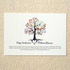 Wedding Invitation - Rustic Woodland Tree - DIY Printable PDF Template - 6 color options. $35.00, via Etsy.