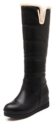 Sfnld Womens Trendy Quilted Round Toe Platform High Wedges Warm Knee High Snow Boots Black 4 BM US -- Check this awesome product by going to the link at the image.