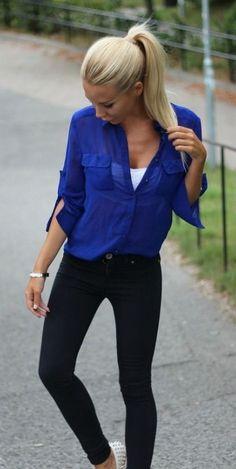 Blue long sleeve shirt, white cami, black jeans & white studded flats