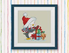 BOGO FREE! Penguin Cross Stitch Pattern, Merry Christmas cross stitch craft, Needlecraft Embroidery Needlework PDF Instant Download #035-3 by StitchLine on Etsy