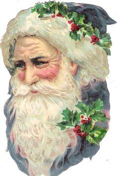 Oblaten Glanzbild scrap die cut chromo Nikolaus santa father XMAS head Kopf tete