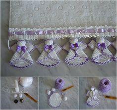 https://www.facebook.com/pages/Chiquinha-Artesanato/345067182280566 Anjinho de Crochê Podemos usar este barradinho em toalhas de mesa, de prato, de lavabo, em fronhas, em colchas,  PAP:http://artesanatofofo.blogspot.com.br/2011/11/toalha-com-croche-de-natal.html