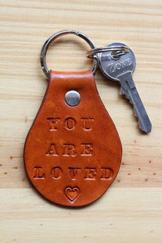 Handmade You Are Loved Leather Keychain by Tina's Leather Crafts on Etsy.com.  Repin To Remember.