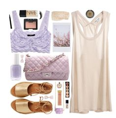 """""""Whisper"""" by belenloperfido ❤ liked on Polyvore featuring Forever 21, Chanel, Essie, Kaanas, Cara, H&M, AERIN, Illamasqua, NARS Cosmetics and Topshop"""