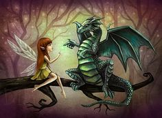 Dragon and Fairy Art Print  8.5 x 11 Fantasy by DianaLevinArt, $15.00