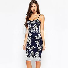 Women's Vintage / Sexy / Casual / Print / Work Print Bodycon Dress , Strap Knee-length Cotton / Spandex - USD $14.99